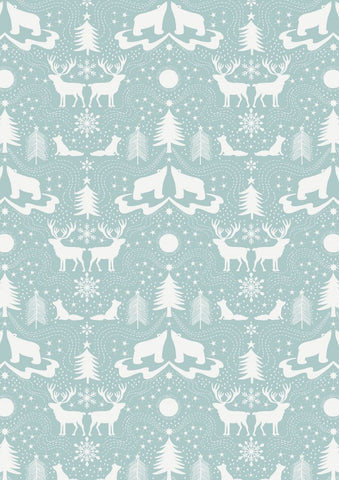 Arctic Animals on Icy Blue fabric by Lewis & Irene