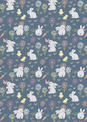 Bunny adventure on denim blue fabric by Lewis & Irene
