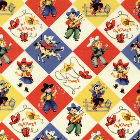 Yippee - Cowboy/Cowgirl retro fabric from Michael Miller