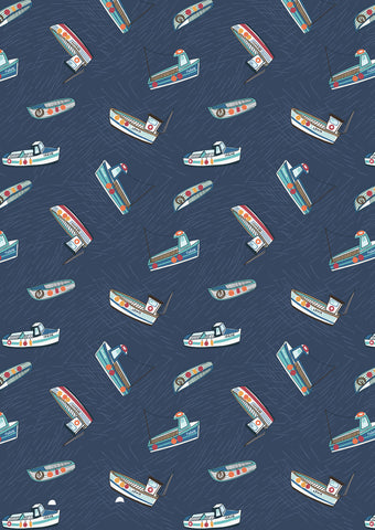 Fishing boats on navy blue from the Harbour Side range by Lewis & Irene
