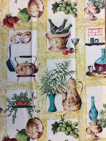 Vintage barkcloth kitchen curtain