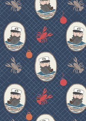 captain on navy blue part of the Harbour Side range of cotton fabric by Lewis & Irene