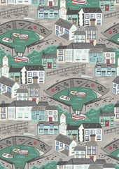 Harbour with sea green sea, cotton fabric from Harbour Side range by Lewis & Irene