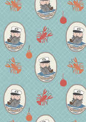 Captain on aqua part of the Harbour Side range of cotton fabric by Lewis & Irene