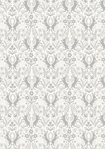 Little Hares Grey on White by Lewis & Irene
