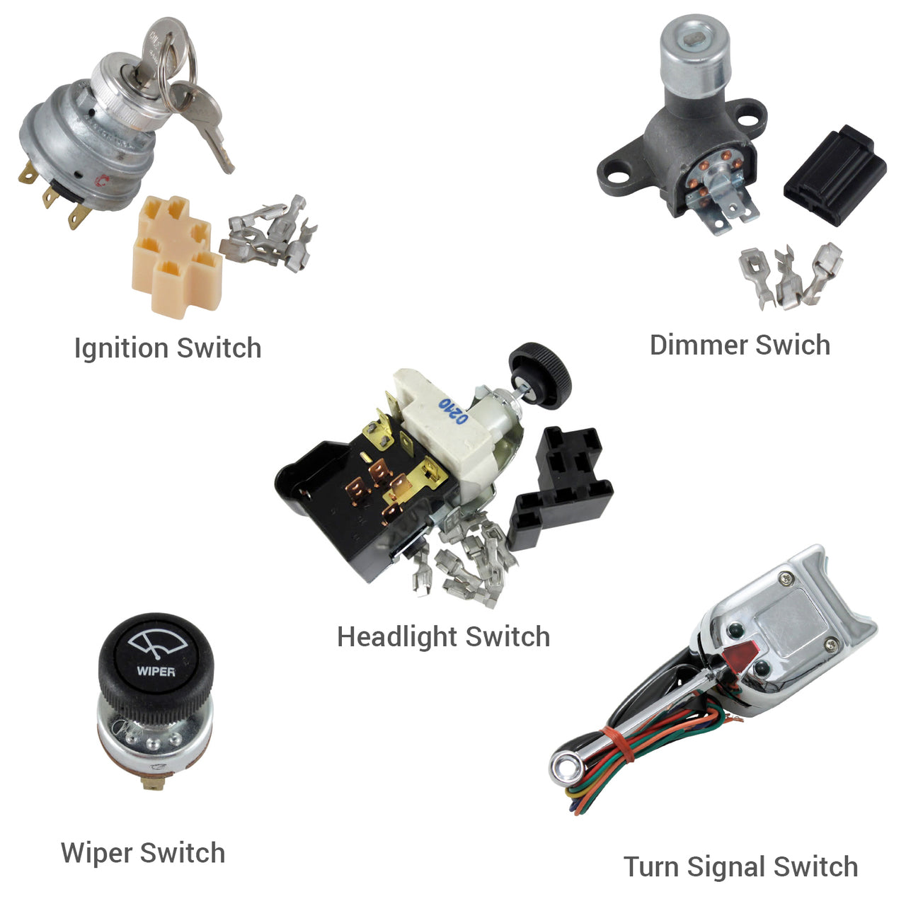 5-Switch Kit Headlight, Dimmer, Turn signal, Ignition and Wiper Switch