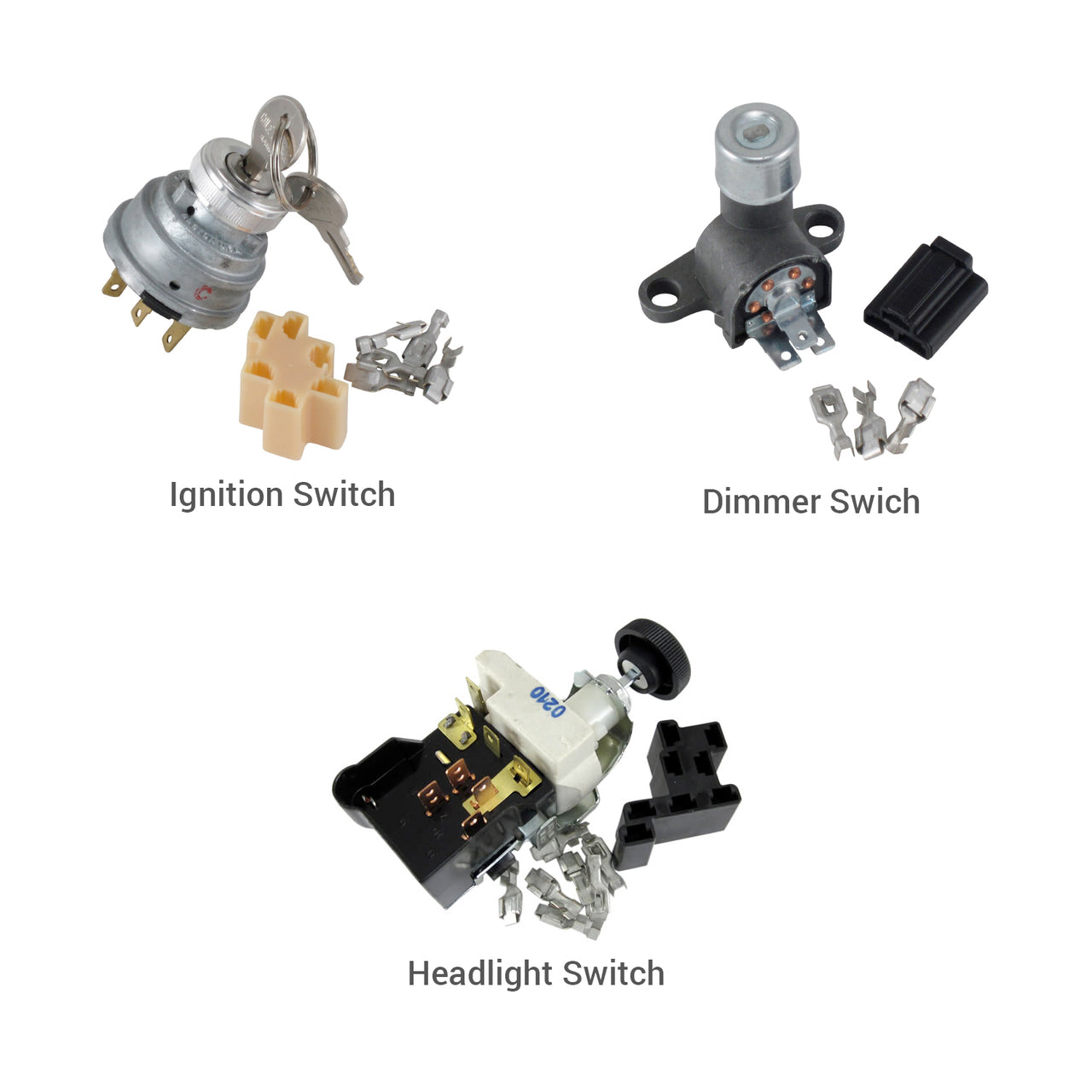 3-Switch Kit Headlight, Dimmer and Ignition Switch