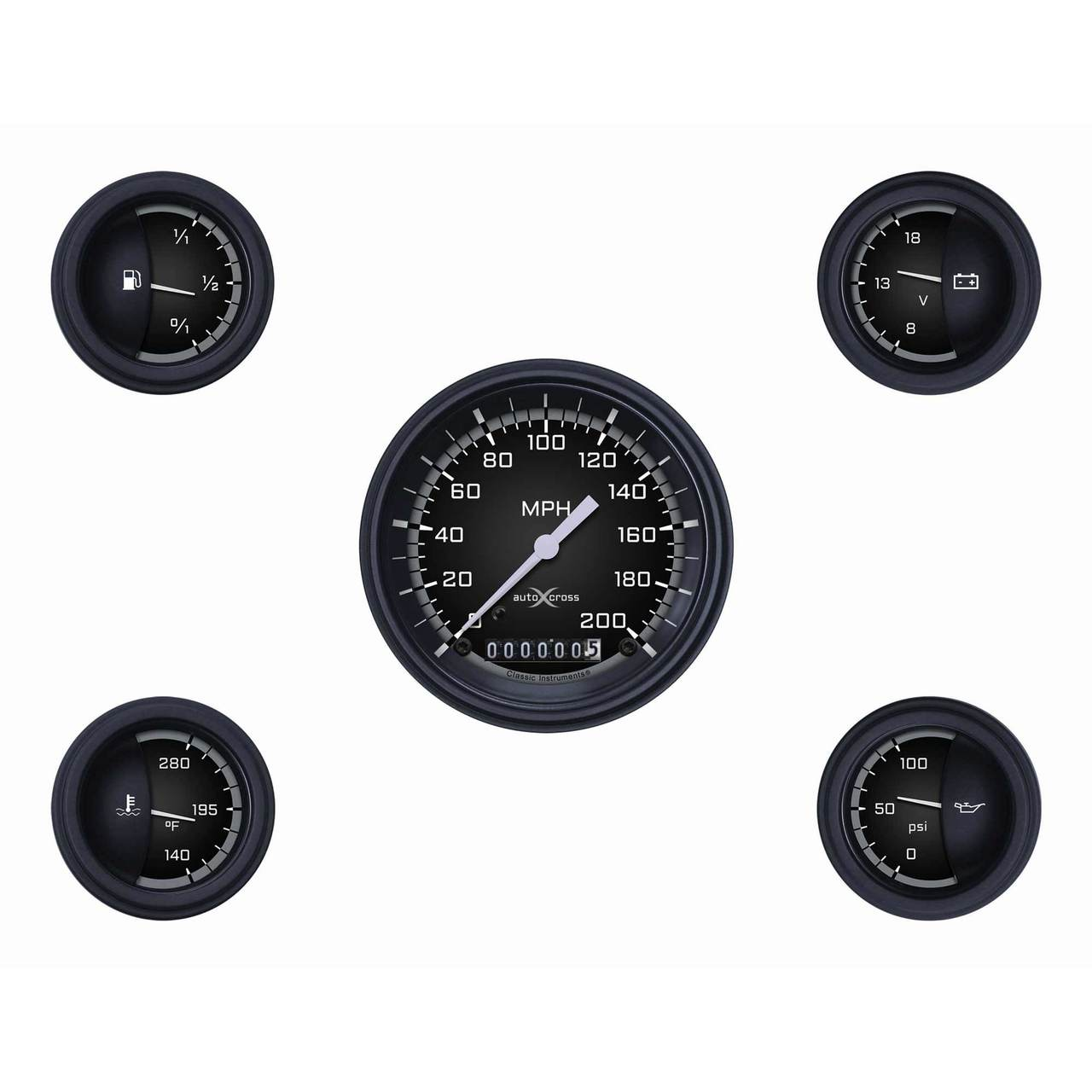 Auto Cross Gray Five Gauge Set