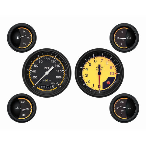 Auto Cross Yellow Six Gauge Set