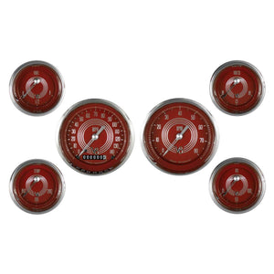 V8 Red Steelie Series Six Gauge Set