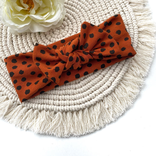 Cognac Dots Headband - BeauxBowsCo