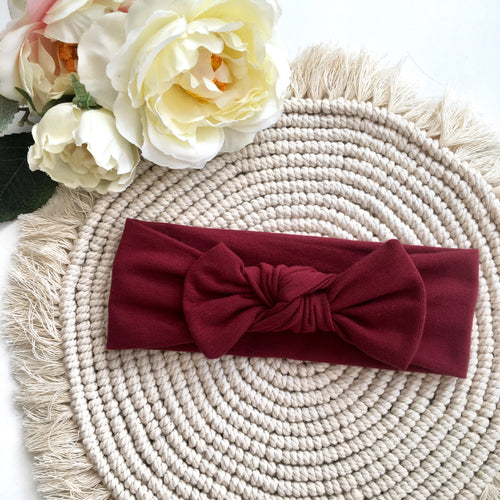 Burgundy Headband - BeauxBowsCo