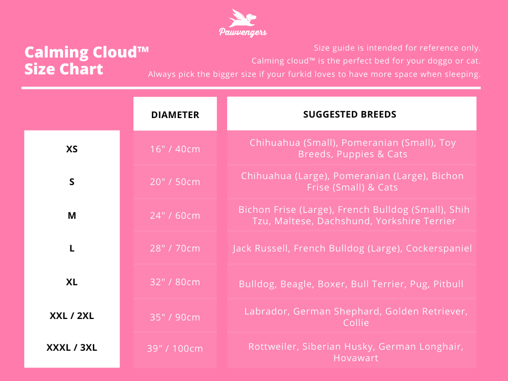 Calming cloud size chart