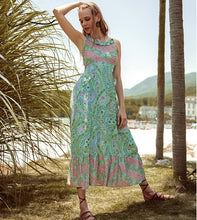Load image into Gallery viewer, Bohemian Paisley Floral Boho Backless Spaghetti Strap Dress