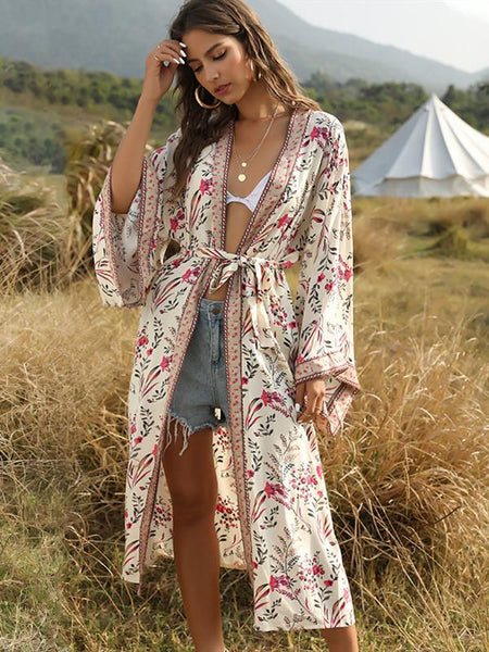 Bohemian Beach Vacation Print Sunscreen Cardigan with Shawl