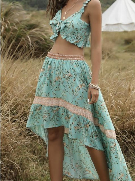 Beach Holiday Top + Skirt Bohemian Women's Two-Piece Suit