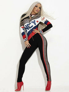 Front Zipper Printed Long Sleeve Jumpsuits