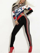Load image into Gallery viewer, Front Zipper Printed Long Sleeve Jumpsuits