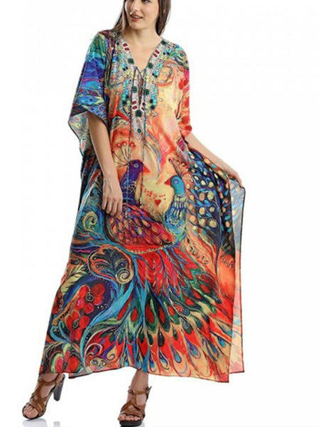 Peacock Orientation Print Beach Dress Holiday Long Dress Bikini Blouse