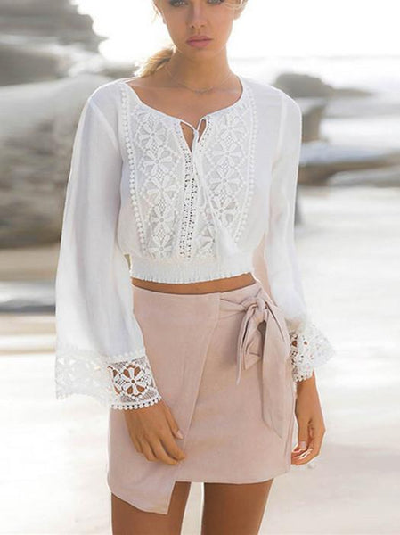 New White Long Sleeve Lace Top