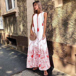 Women s Chinese Sleeveless Print Spring Summer Dress