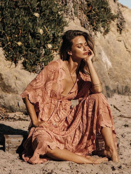 Boho Summer Pink lace loose elastic waist Mid-sleeve swing beach holiday Maxi Dress
