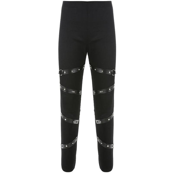 Gothic Rivet Skinny Pencil Pants Women Sexy Leather Spliced Bandage Full Length Trousers