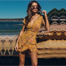 Load image into Gallery viewer, Bohemia Vacation Deep V-Neck Print Ruffled Dress