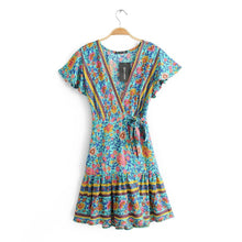 Load image into Gallery viewer, Boho V-neck Turquoise Floral Print Ruffles Mini Dress