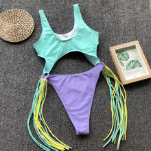 Load image into Gallery viewer, Swimsuit Sexy Openwork Rim Tassel One-Piece Bikini