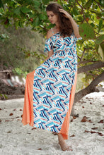 Load image into Gallery viewer, Boho Ruffled Sling Waist and Large Splicing Print Long Dress