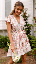 Load image into Gallery viewer, Spring Bohemian Beach Deep V-Neck Large Hem Print Dress