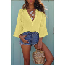 Load image into Gallery viewer, Deep V-neck Blouse Loose Casual Long Sleeve T-shirt Beach Outfit