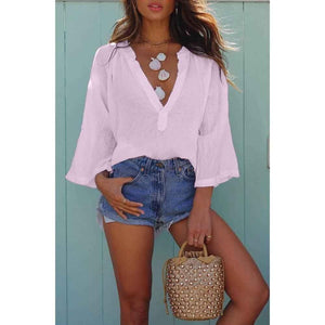 Deep V-neck Blouse Loose Casual Long Sleeve T-shirt Beach Outfit