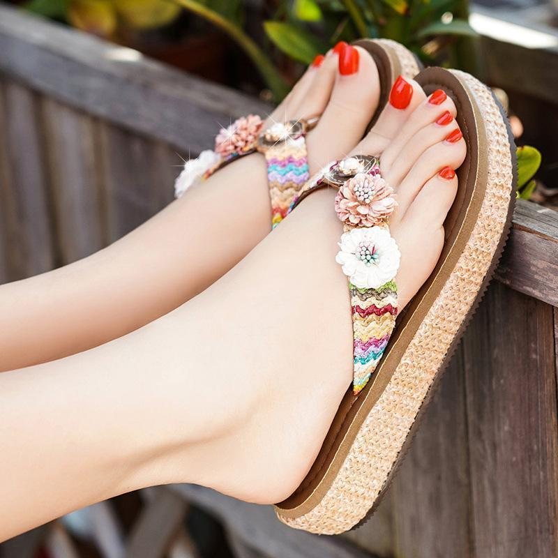Flat Bottom Flip Flops Fashion Flowers Sandals Slippers