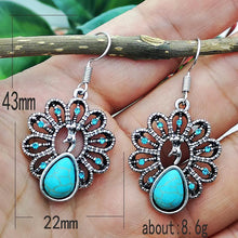 Load image into Gallery viewer, Boho Peacock Stone Pendant Earring Jewelry