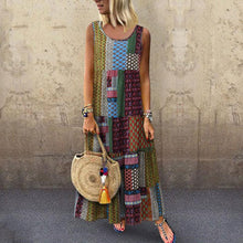 Load image into Gallery viewer, Bohemian Splicing Round Neck Sleeveless Maxi Dresses