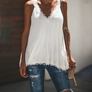Solid Color Lace Stitching V-neck Fashion Camisole