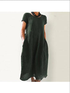Pure Cotton and Hemp Dress with A Slim and Loose Air