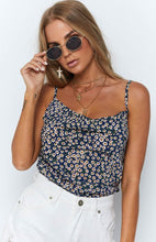 Load image into Gallery viewer, Chiffon Floral Printed Spaghetti-neck Base Tank