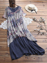 Load image into Gallery viewer, Loose Printing Large Size Medium Length Dress Fake Two-piece Set