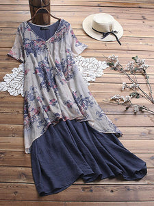 Loose Printing Large Size Medium Length Dress Fake Two-piece Set