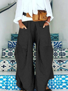 Large Pocket Irregular Broad-legged Trousers