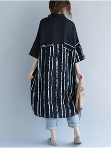 2018 Stripe Linen Cotton Loose Shirt Dress