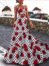 Load image into Gallery viewer, Boho Retro Hepburn Wind Waist Slimming Large Print Long Dress