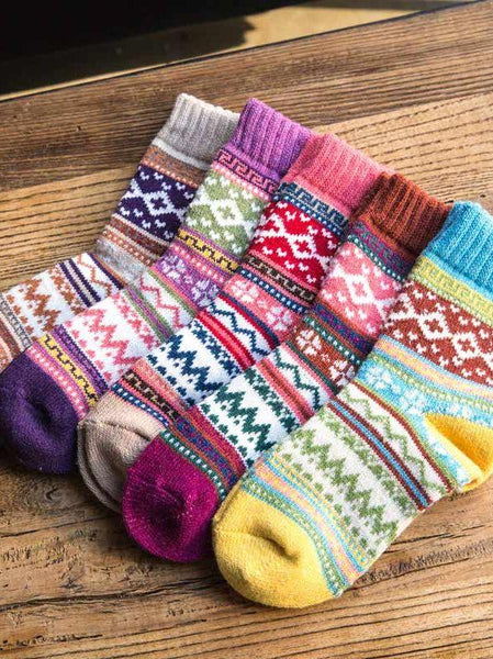 Autumn And Winter Knitted Cotton Wool Thick Warm Women's Socks
