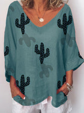 Load image into Gallery viewer, Cactus Pattern Printed Fashionable Shirt with Broken Sleeves