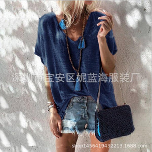 Summer Candy-colored Large Size Loose V Neck Short-sleeved T-shirt Female