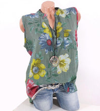 Load image into Gallery viewer, Standing Collar Slub Hemp Printed Sleeveless T-shirt