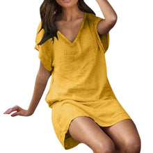 Load image into Gallery viewer, Cotton and Linen Solid Color V Collar Short Sleeve Long Dress